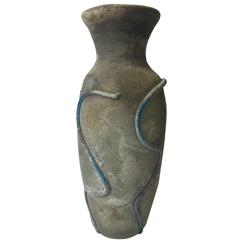 Gino Cenedese Large Murano Vase, Glass, Scavo Finish, Signed