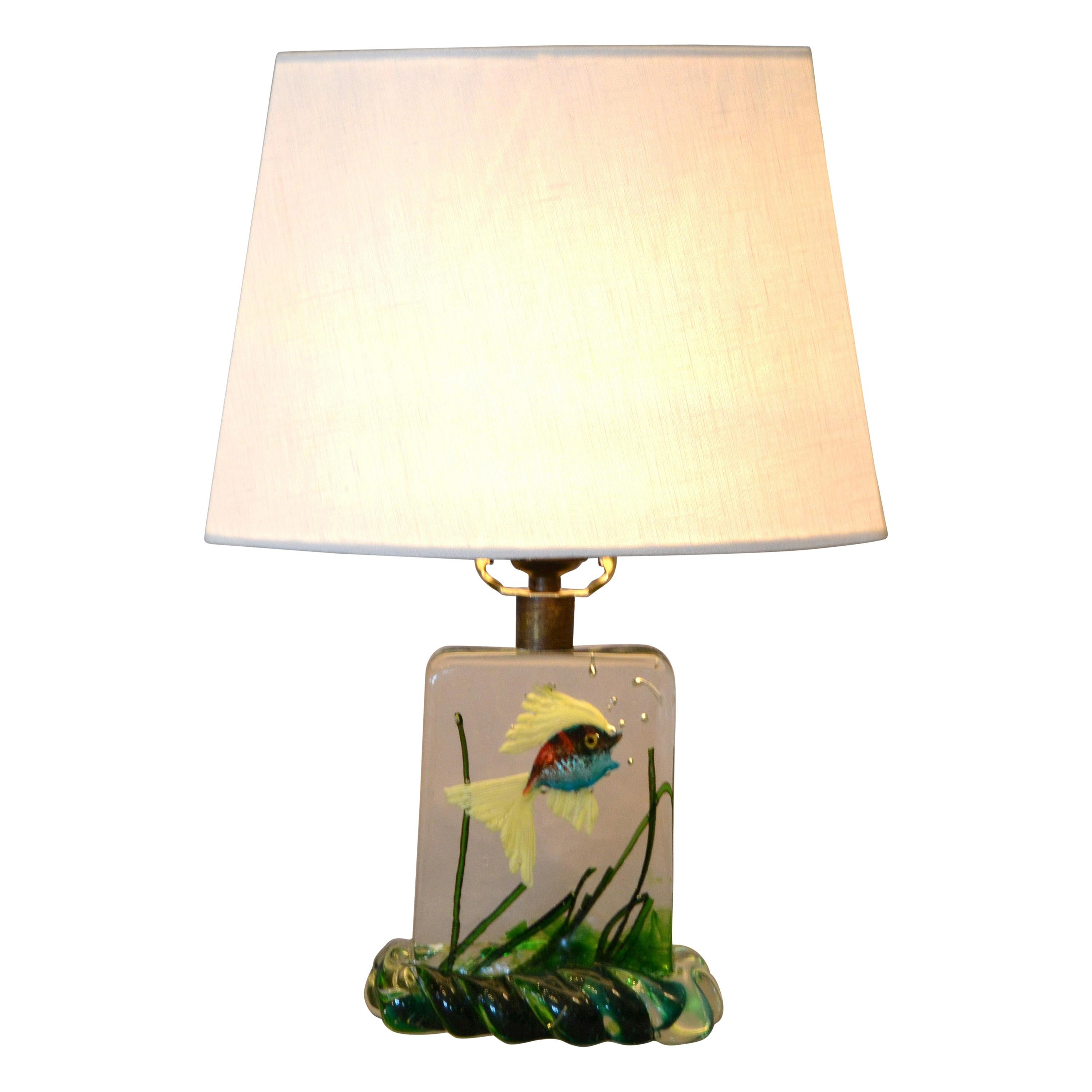 Gino Cenedese Murano Glass Table Lamp & Shade with Fish and Seaweed, Italy, 1950