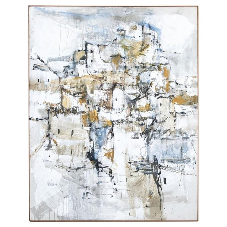 Gino Hollander 'American' Massive Mid Century Abstract Village Paint For Sale