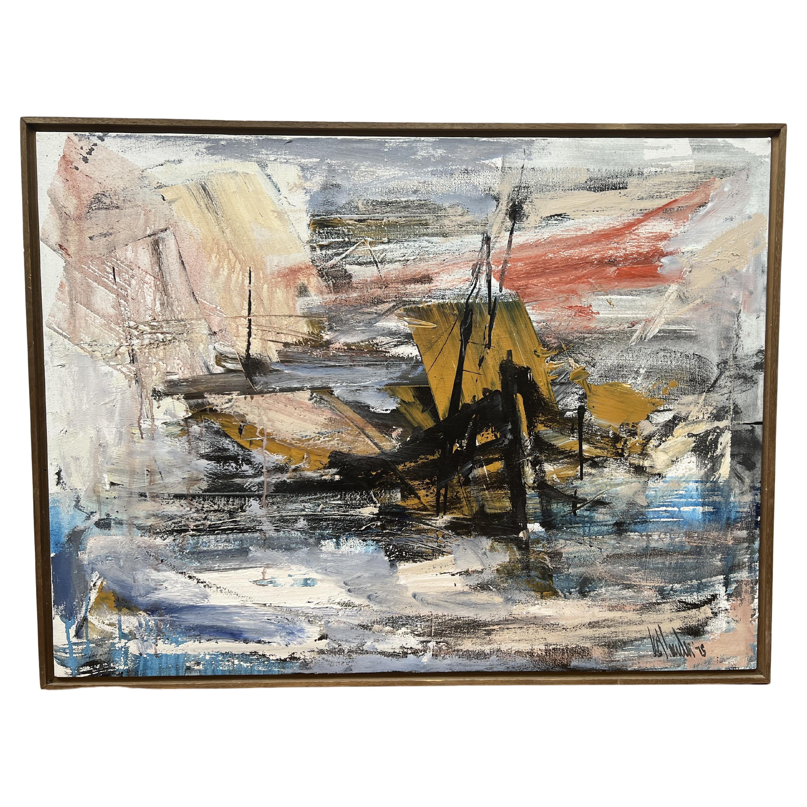 Gino Hollander Oil Painting of Shipwreck in a Storm
