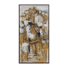 Large Gestural Yellow Toned Abstract Expressionist Painting