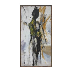 Large Yellow and Grey Gestural Tonal Abstract Expressionist Portrait