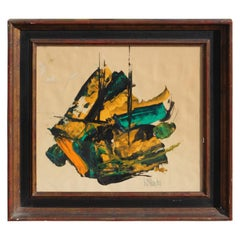 Yellow and Turquoise Gestural Abstract Expressionist Painting