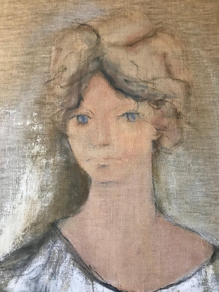 Mid-Century Modern Portrait of Norma Jean Fink, Oil on Linen Signed Gino Hollander For Sale