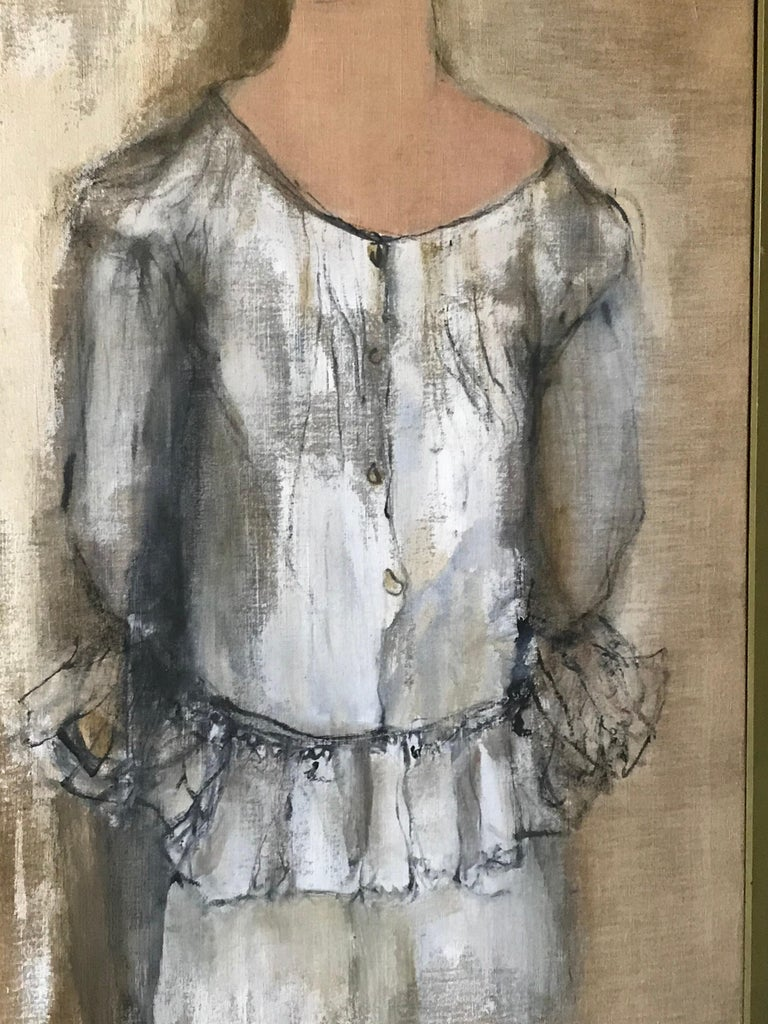 American Portrait of Norma Jean Fink, Oil on Linen Signed Gino Hollander For Sale