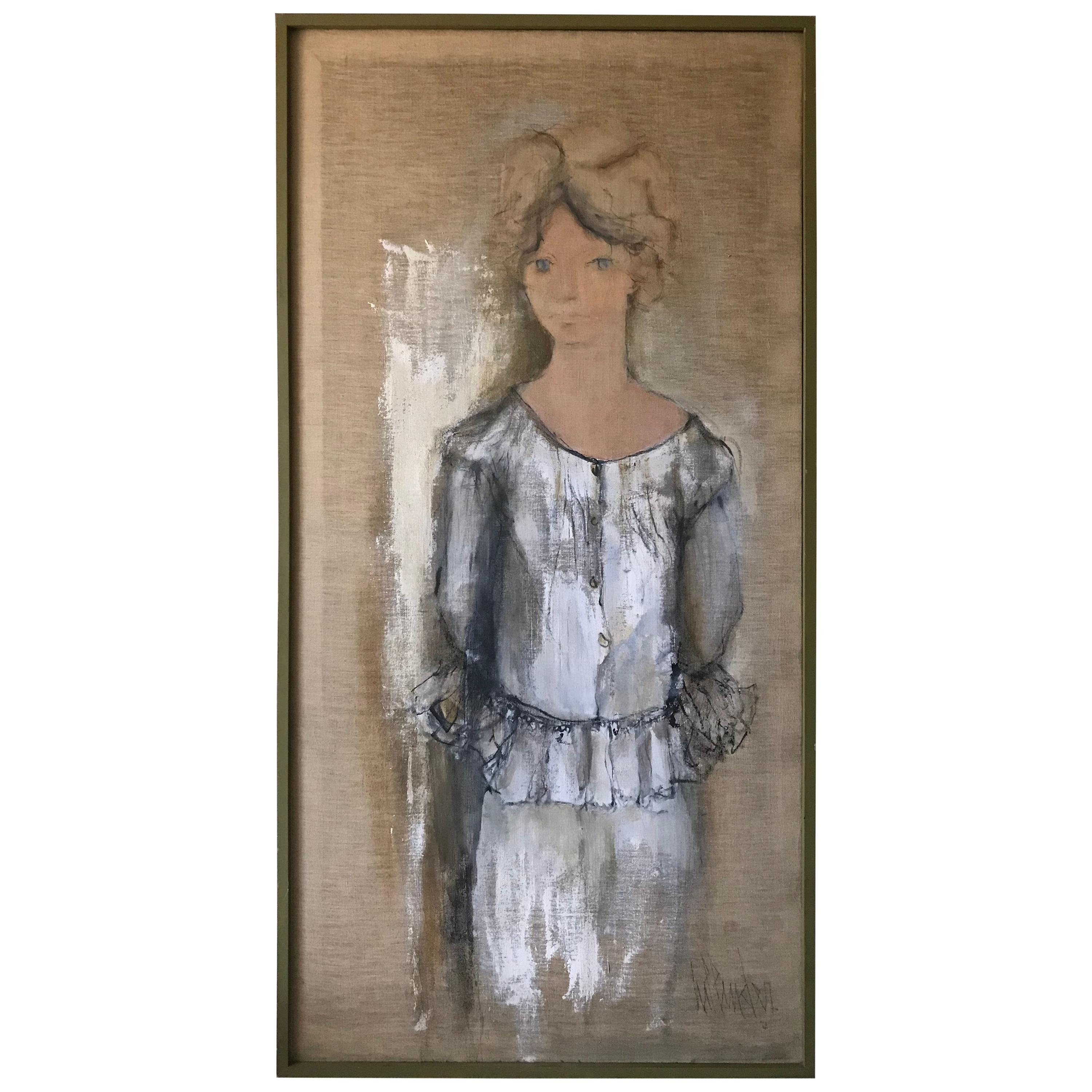 Portrait of Norma Jean Fink, Oil on Linen Signed Gino Hollander