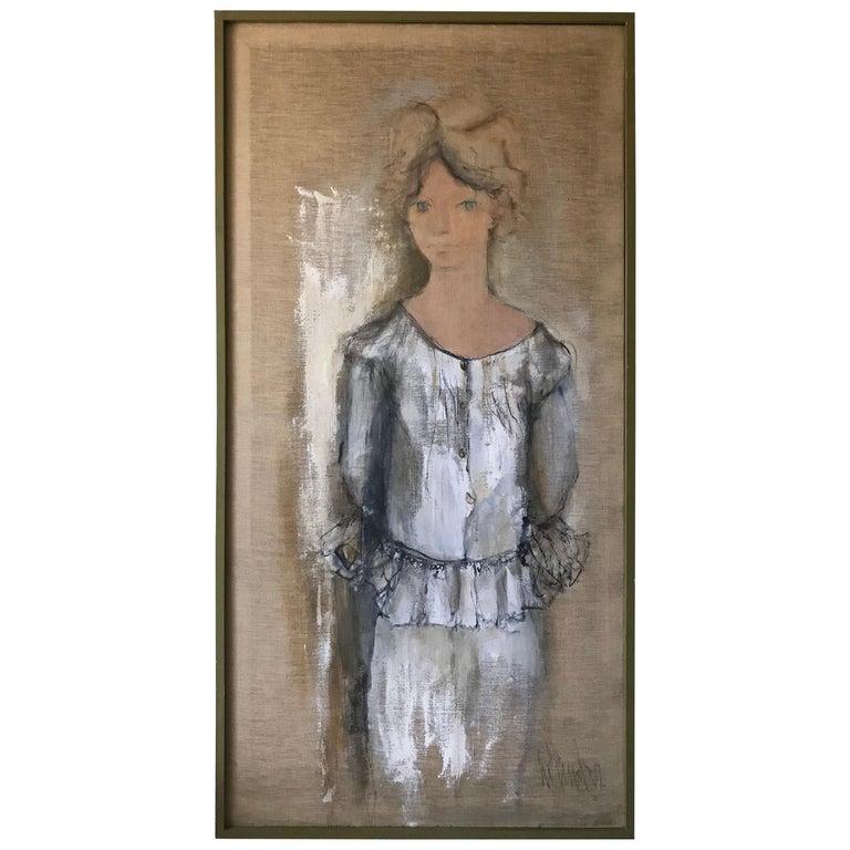Portrait of Norma Jean Fink, Oil on Linen Signed Gino Hollander For Sale