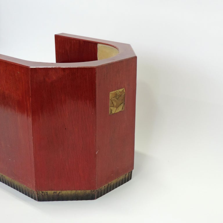 Gino Maggioni Red Stained Armchair for Arredamenti Borsani Varedo, Italy, 1920s For Sale 3