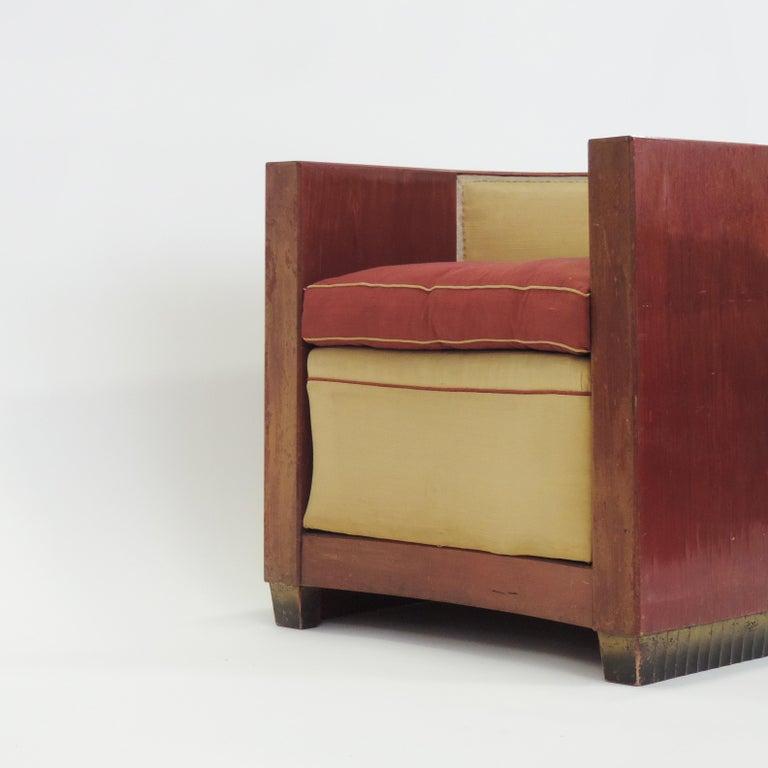 Gino Maggioni Red Stained Armchair for Arredamenti Borsani Varedo, Italy, 1920s For Sale 4
