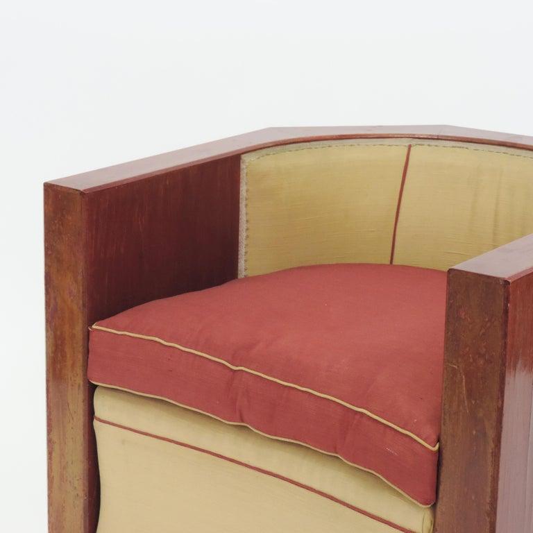 Gino Maggioni Red Stained Armchair for Arredamenti Borsani Varedo, Italy, 1920s For Sale 5