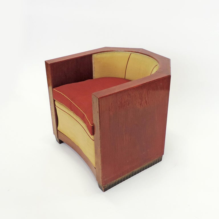 Gino Maggioni Red Stained Armchair for Arredamenti Borsani Varedo, Italy, 1920s For Sale 6