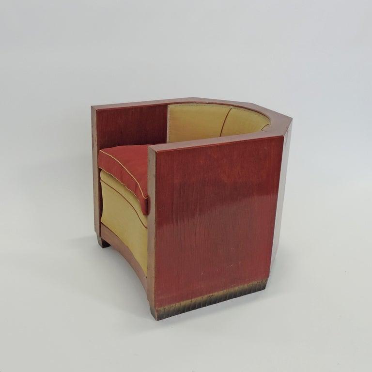 Art Deco Gino Maggioni Red Stained Armchair for Arredamenti Borsani Varedo, Italy, 1920s For Sale
