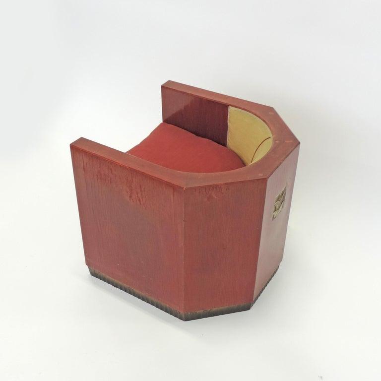 Gino Maggioni Red Stained Armchair for Arredamenti Borsani Varedo, Italy, 1920s For Sale 1