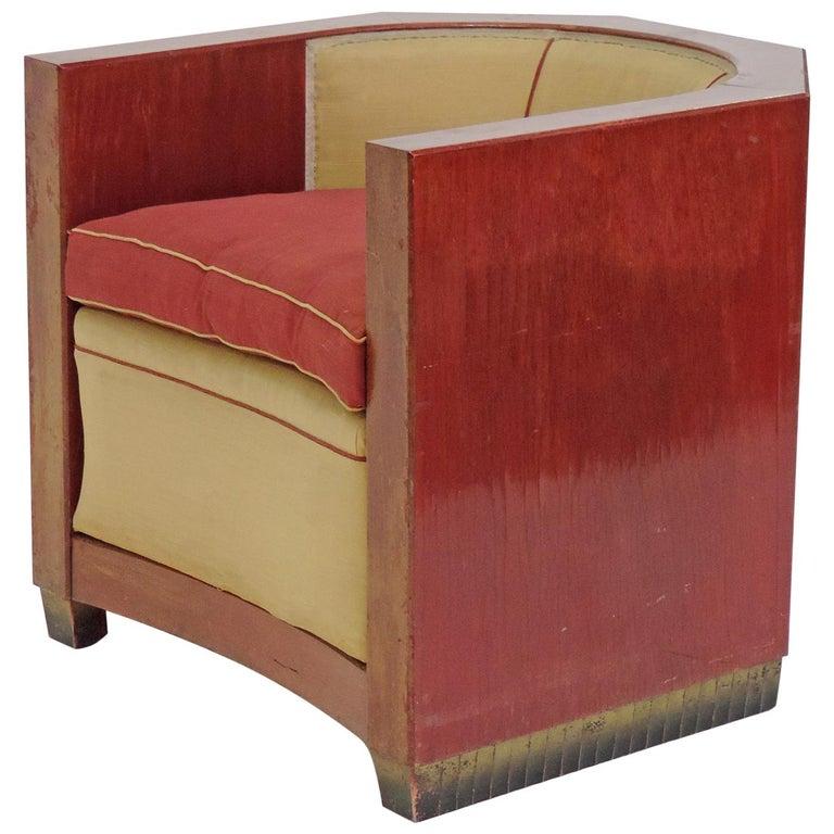 Gino Maggioni Red Stained Armchair for Arredamenti Borsani Varedo, Italy, 1920s For Sale