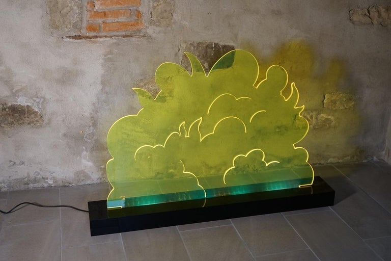 Siepe model plexiglass lamp sculpture designed by Gino Marotta for Superego Editions in 2008. Limited edition of 50 pieces. Led illumination. Prototype. Signed.