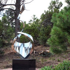 """""""Aja"""" Abstract Sculpture in Stainless Steel Metal by Gino Miles"""