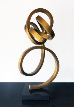 """Doodlebug"" Abstract Sculpture in Bronze Metal by Gino Miles"