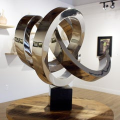 """""""Radiant"""" Abstract Sculpture in Stainless Steel Metal by Gino Miles"""