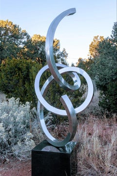 """Splendor"" Abstract Sculpture in Stainless Steel Metal by Gino Miles"