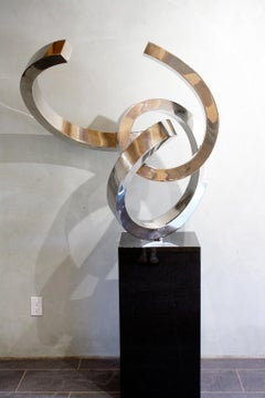 """""""Taurus"""" Abstract Sculpture in Stainless Steel Metal by Gino Miles"""