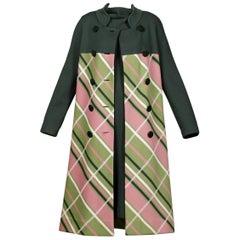 Gino Paoli 1960s Vintage 100% Wool Knit Plaid Coat + Dress 2-Piece Ensemble