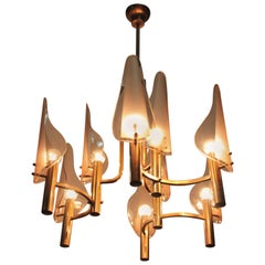 Gino Paroldo Chandelier Curved Glass and Gold Brass, 1960s, Italy