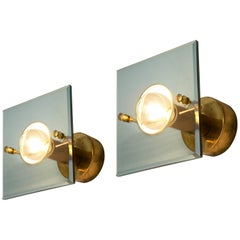 Gino Paroldo Pair of Wall Lights in Brass and Glass