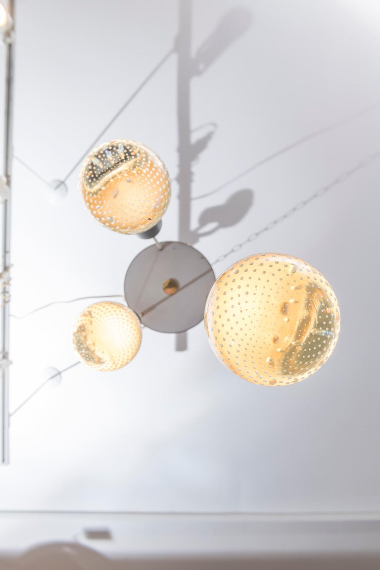 Gino Sarfatti and Archimede Seguso three-light chandelier for Lightolier.