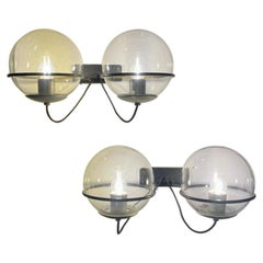 Gino Sarfatti Arteluce Mod. 238/2 Wall Lights Lacquered Metal Glass, Italy, 1960
