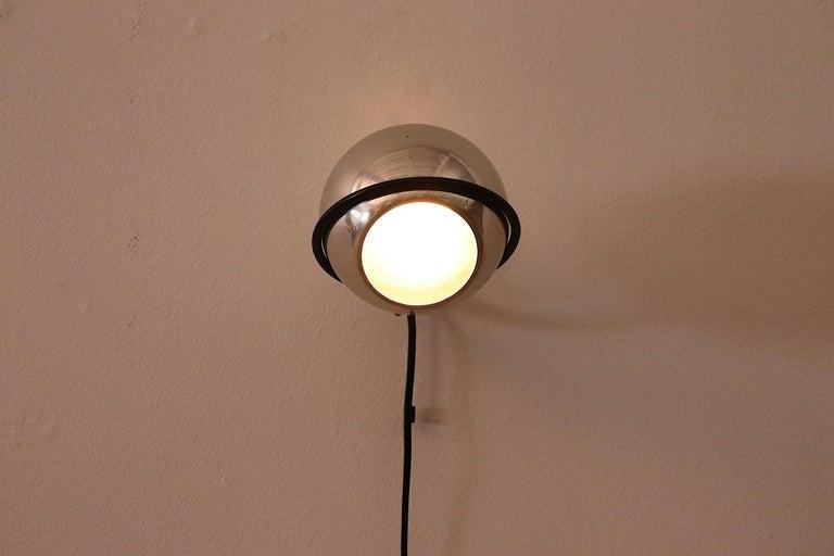 Enameled Gino Sarfatti Chrome Globe Lamp For Sale