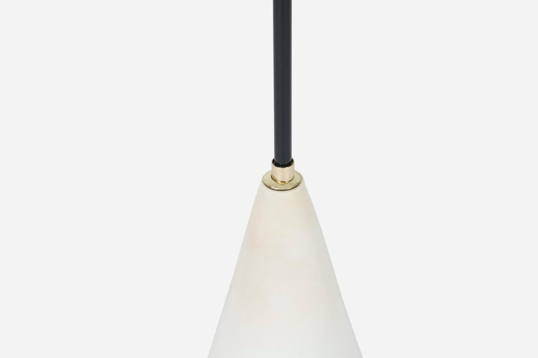 Mid-20th Century Gino Sarfatti Conical Floor Lamp, Marble, Brass, and Enamel For Sale