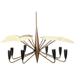 Arredoluce Eight Arm Chandelier with Yellow Perforated Shades, 1950's