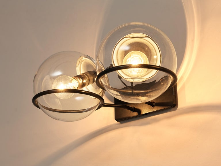 Mid-Century Modern Gino Sarfatti for Arteluce Pair of Wall Lights Model '237' in Glass and Metal For Sale