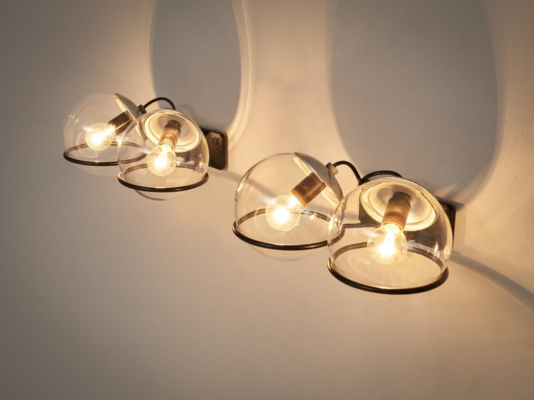 Italian Gino Sarfatti for Arteluce Pair of Wall Lights Model '237' in Glass and Metal For Sale