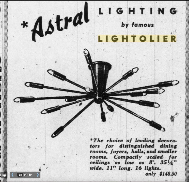 In 1939 Gino Sarfatti first designed his 'Fuoco d'artificio' chandelier but it wasn't until 1957 that it became commonly known as the Sputnik. It was the inspiration behind his 1954 Astral collection for Lightolier. The collection included the