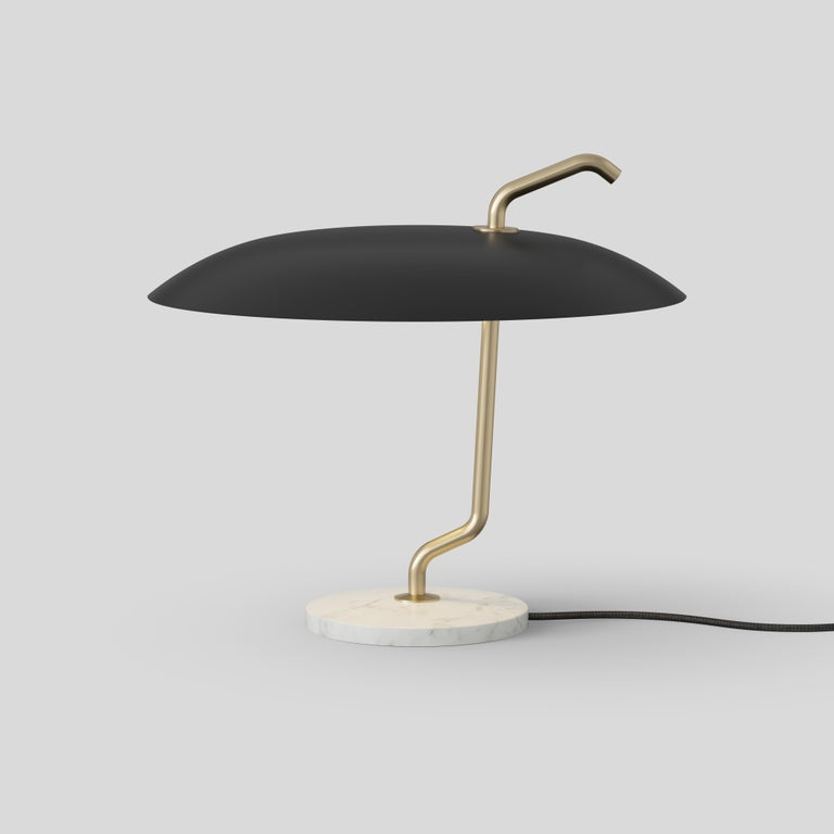 Gino Sarfatti lamp model 537. Brass structure, black reflector, white marble. Manufactured by Astep  Model 537 Design by Gino Sarfatti In its refined simplicity, Model 537 stands out owing to the combination of rich materials and ingenious,