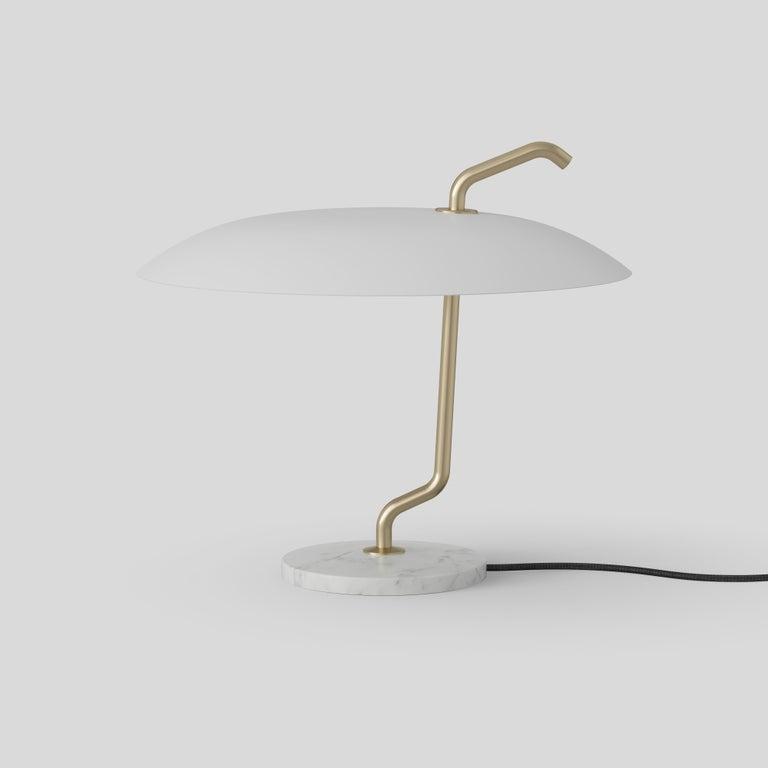 Contemporary Gino Sarfatti Lamp Model 537 Brass Structure, Black Reflector, White Marble For Sale