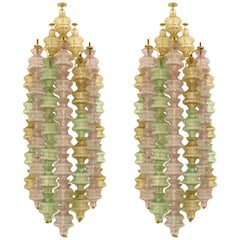 Gino Sarfatti Mid-Century Modern Pair of Murano Glass Italian Sconces, 1960s