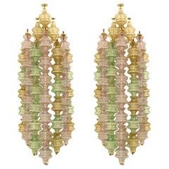 Gino Sarfatti Mid-Century Modern Pair of Murano Glass Italian Sconces, 1960s