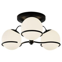 Gino Sarfatti Model 2042/3 Ceiling Light in Black