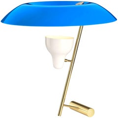 Gino Sarfatti Model #548 Table Lamp in Blue and Polished Brass