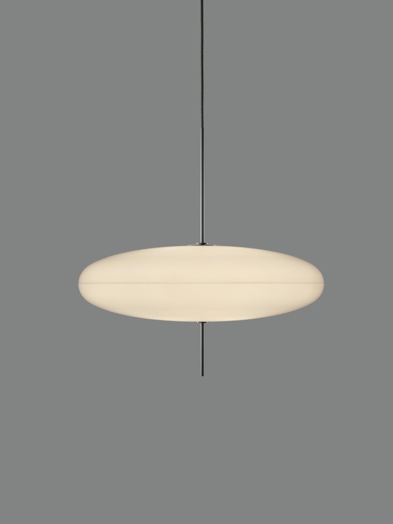Gino Sarfatti model no. 2065 ceiling lamp. Designed in 1950, this is an authorized 2017 Astep/Flos re-edition by Alessandro Sarfatti, grandson of Gino Sarfatti, who applies his grandfather's scrupulous attention to detail and materials to offer a
