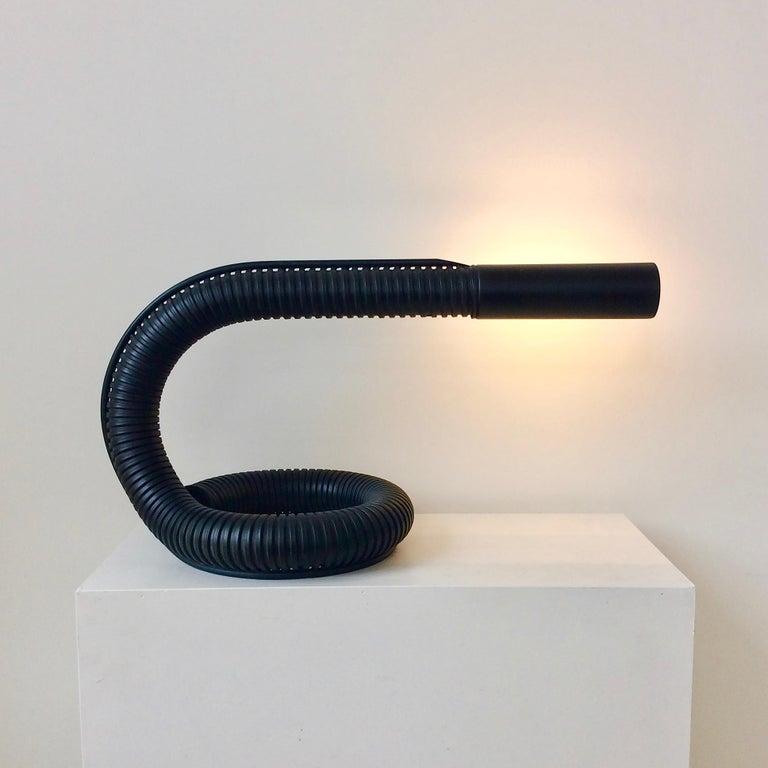 Rare Gino Sarfatti table lamp model 536, 1966, Italy. Black lacquered metal directing stem and reflector. Original label Arteluce Milano. Dimensions: 30 cm H, 25 D, 56 W. Good original condition. Bibliography: Cat Arteluce p.33, Repertorio p.244. We