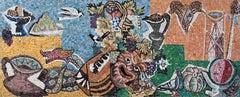 Gino Severini - Omaggio a Bacco, mosaic, italian, futurist, colorful, still life