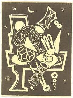 Composition - Original Woodcut - Mid-20th Century