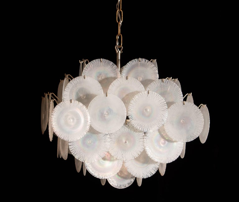 Gino Vistosi Chandelier with 60 Handmade Murano White/Pearl Colored Crystals For Sale 5