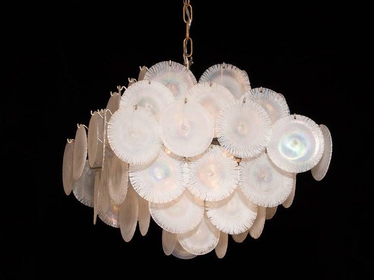 Italian Gino Vistosi Chandelier with 60 Handmade Murano White/Pearl Colored Crystals For Sale