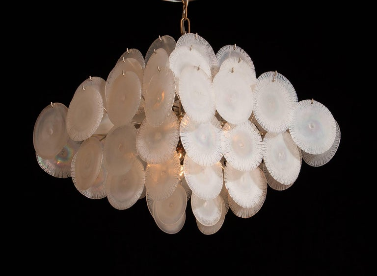Gino Vistosi Chandelier with 60 Handmade Murano White/Pearl Colored Crystals For Sale 1