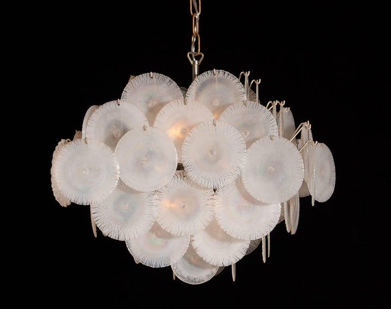 Gino Vistosi Chandelier with 60 Handmade Murano White/Pearl Colored Crystals For Sale 2