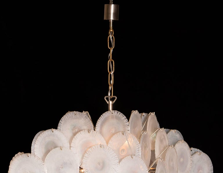 Gino Vistosi Chandelier with 60 Handmade Murano White/Pearl Colored Crystals For Sale 3